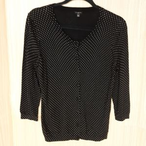 Polka dot soft 3/4 sleeve cardigan.  Petite